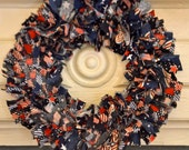 Patriotic 4th of July rag wreath -  red, white and blue cotton fabric
