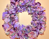 Shabby Chic purple floral rag wreath - cotton fabric