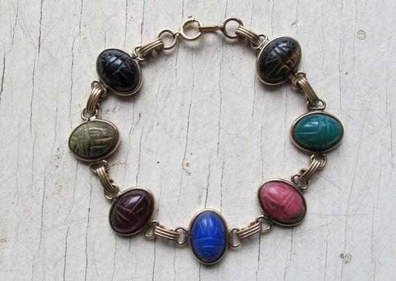Vintage carved scarab semi precious stone bracelet