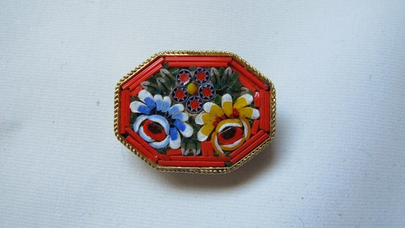 RESERVED FOR MARINA.  Vintage Italian micro mosaic brooch