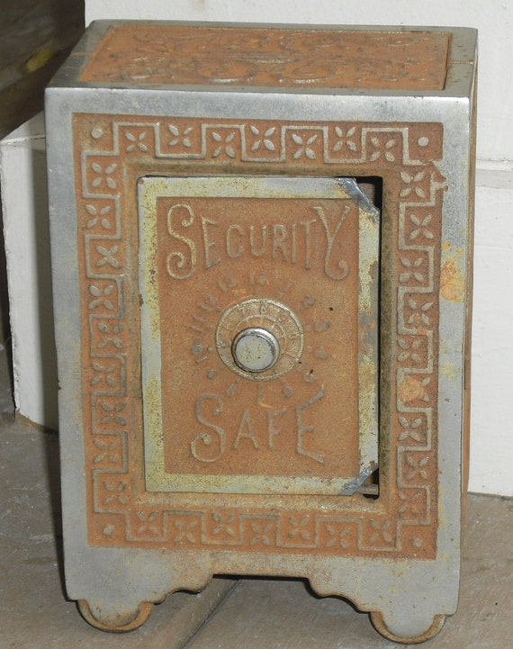 c1890's Antique Cast Iron Toy Safe Bank FREE SHIPPING