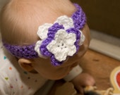Crochet flower headband - baby accessory with purple and white flower