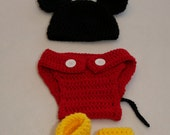 Baby Mickey Mouse Set inspired set of mouse ears beanie hat, diaper cover and booties for baby, infant or newborn