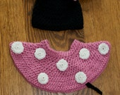 Minnie Mouse inspired crochet baby set, PINK bow on mouse ears beanie, diaper cover skirt and booties - also available in red