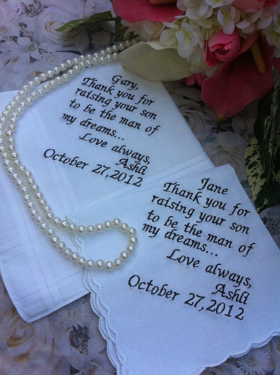 A gift set from bride to her future husband's parents Mother of groom and father of groom set of handkerchiefs