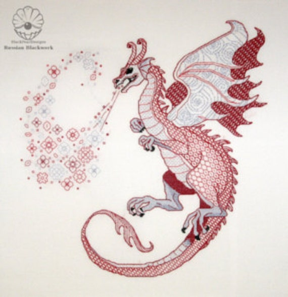 "Blackwork kit ""Dragon Lindworm""  from ""The Dragons-2012"" Blackwork collection"