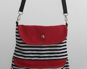 Red and black-white canvas hip bag //handmade bag/ messenger bag/cross body bag/adjustable strap  --canvas fabric by lalitathaicraft