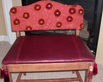 Leather and Silk Wooden Bench