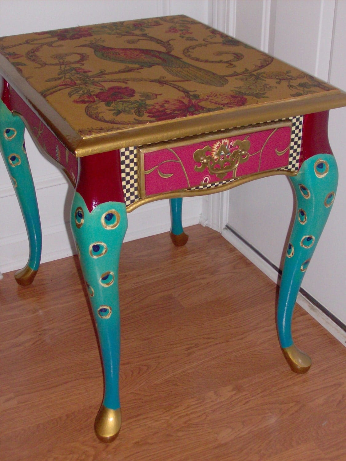 Proud as a peacock end table free shipping today for Peacock coffee table