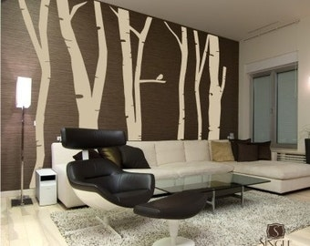 Birch Trees Wall Decal Mural Extra Tall - Set of 6