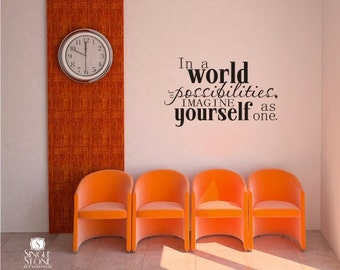 Wall Decals Quote World of Possibilities - Vinyl Wall Art