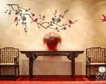 Cherry Blossom Tree Wall Decal with Birds - Vinyl Wall Art Custom Home Decor