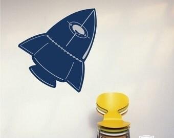 Rocket Wall Decal Space Ship - Vinyl Wall Art Sticker