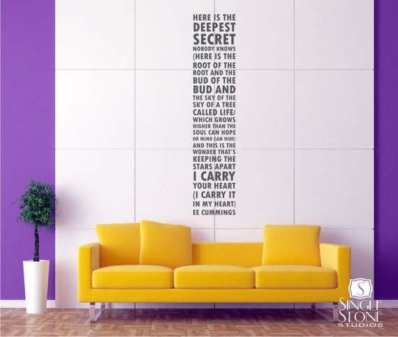Wall Decal Quote Text ee cummings I Carry Your Heart - Vinyl Subway Art