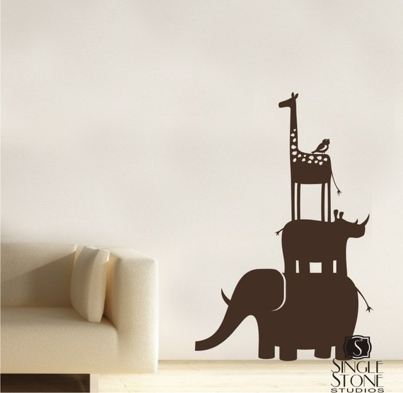 Kids Wall Decals Animal Safari Stack - Vinyl Wall Art