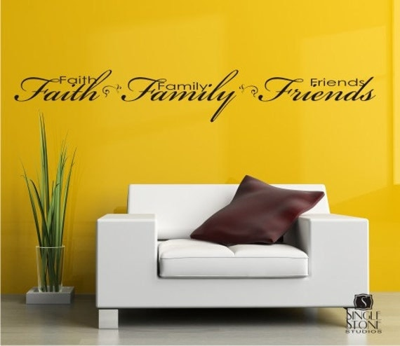 Family Friends Wall Decor : Items similar to wall decals faith family friends vinyl