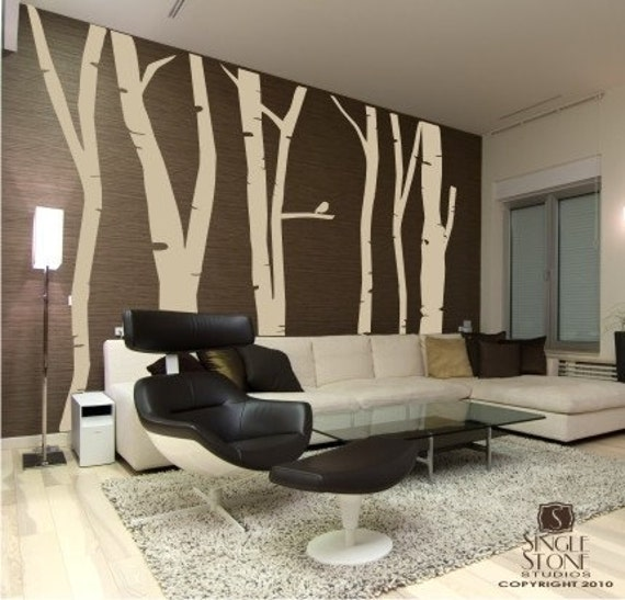 Birch trees wall decal mural extra tall set by for Birch trees wall mural