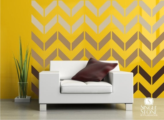 Items similar to wall decals chevron pattern vinyl art for Chevron template for walls