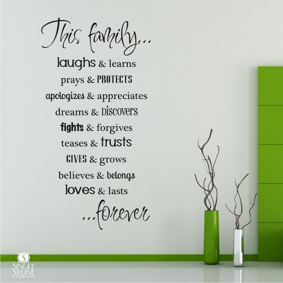 Family Rules Wall Decals Quote - Vinyl Text Wall Words