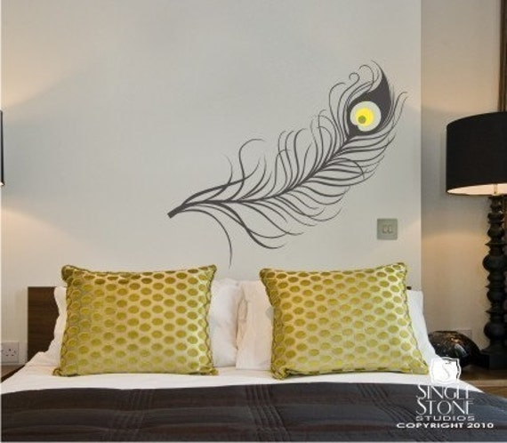items similar to peacock feather wall decal vinyl art stickers custom home decor on etsy. Black Bedroom Furniture Sets. Home Design Ideas