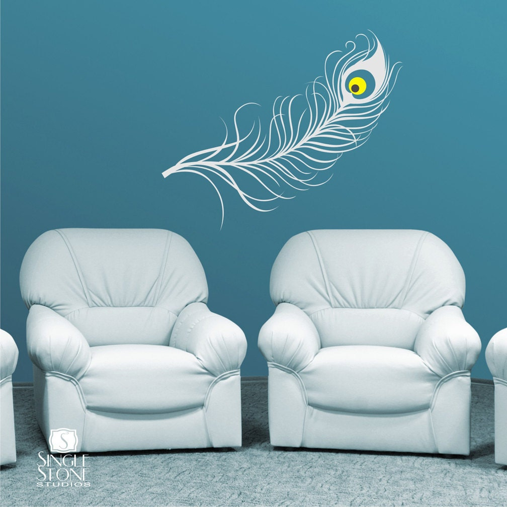 peacock feather wall decal vinyl art stickers. Black Bedroom Furniture Sets. Home Design Ideas