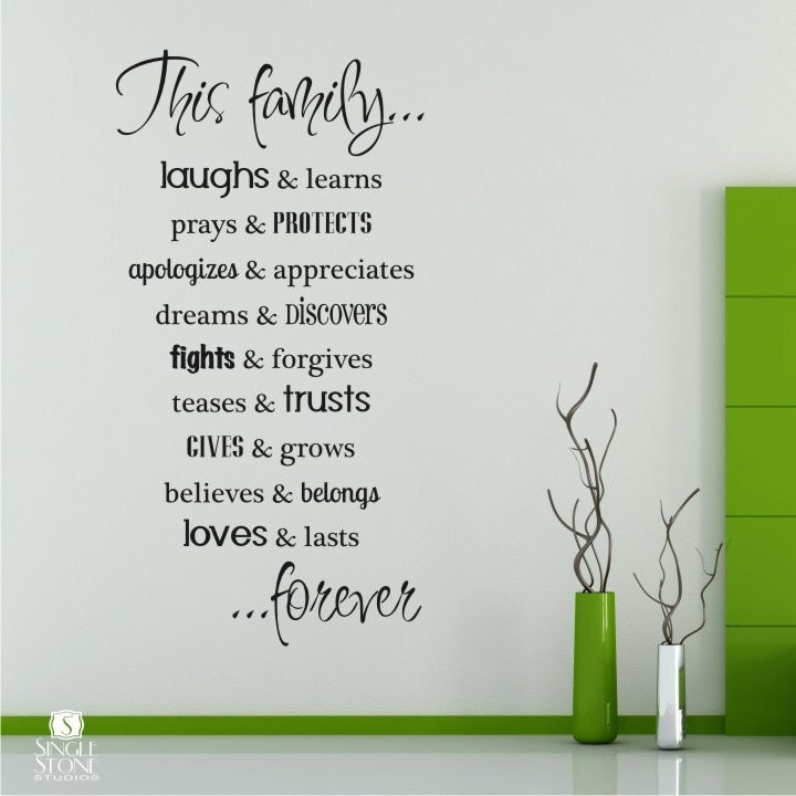Text Wall Stickers Family Rules Wall Decals Quote Vinyl Text Wall Words