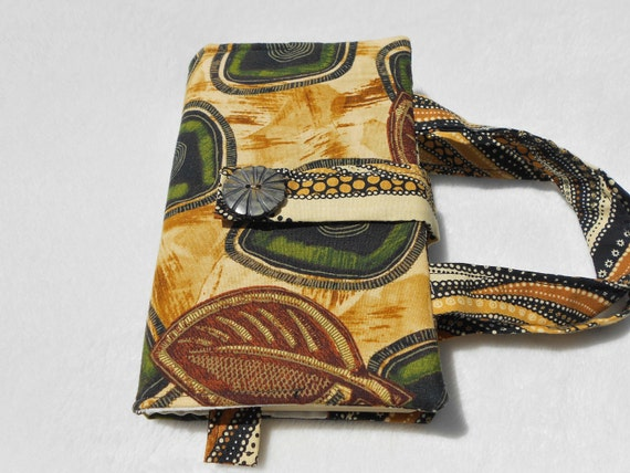 African inspired, cotton paperback book cover, reusable cloth fabric bookmark, purse, case, protective, washable, brown green tan leaves