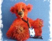 Red mohair teddy bear, handmade