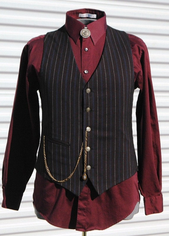 Mens Medium Pinstripe Steampunk Vest