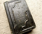 RESERVED Vintage Victorian Leather Book of Hours Upcycled to Journal.  Black. Small