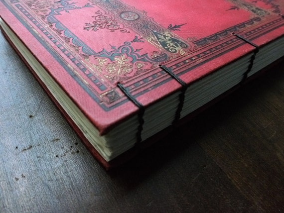Black Friday Vintage Journal Recycled Upcycled Red French Victorian Sketchbook Guestbook Hand Torn Paper