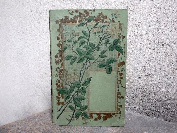 RESERVED Ornate Wedding Guestbook Handmade Upcycled from Green Vintage French Book
