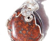 Wire Wrapped Red Orbicular Jasper Northern California Coast Silver Filled