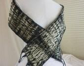 Bark cloth nuno felted scarf  NFS120014