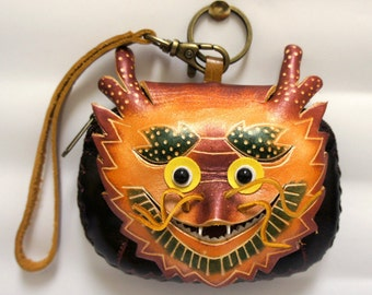Handmade Leather Chinese Dragon Coin Purse Wristlet