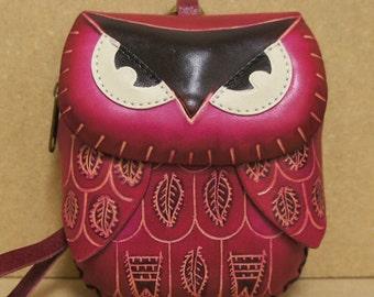 Handmade Leather Pink Owl Coin Purse Wristlet - HOOT :)