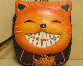 Leather Cheshire Kitty Cat Coin Purse Wristlet, orange & red - MEOW :)