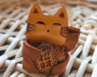 Lucky Chinese Kitty Cat Leather Keychain Purse Charm - MEOW