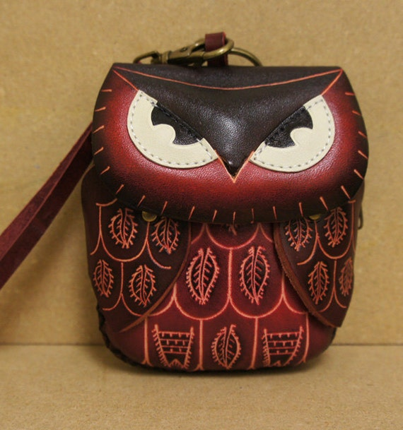 Red Leather Owl Coin Purse Wristlet - HOOT :)