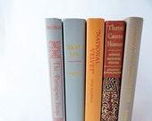 5 Book Collection Grey Orange Rust Tan Photo Prop Decor Books 50s 60s. Autumn Colors. Vintage Props