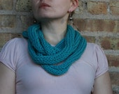 pick your COLOR - Knit Infinity rope scarf / necklace / neck warmer, aqua