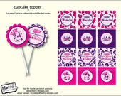 Pink & Purple Leopard Cupcake Toppers, Animal Print Favor Tags, Leopard Birthday Decorations, Princess Favor Tags, Princess Cupcake Toppers