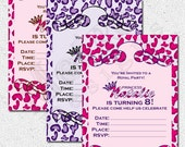 Pink/Purple Leopard Princess Invitation - 25qty  PRINTED - by Metro Events/Metro-Designs