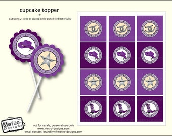 Cowgirl Cupcake Toppers, Cowgirl Favor Tags, Purple Cowgirl Labels, Cowgirl Birthday, Cowgirl Party