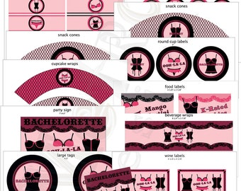 Bachelorette Party Decorations, Bachelorette Banner, Bachelorette Labels, Adult Party, Lingerie Party Decorations