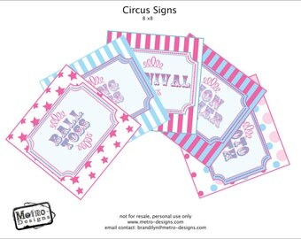 Carnival Party Signs, Pastels