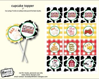 Barnyard Favor Tags and Cupcake Toppers