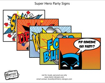 Superhero Party Signs