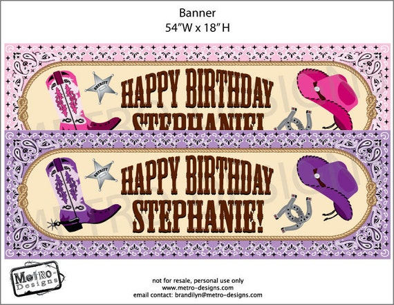 Cowgirl Printed Banner