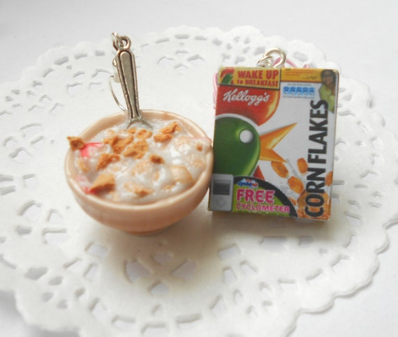 Handmade miniature polymer clay food jewelry - Breakfast milk with corn flakes earrings